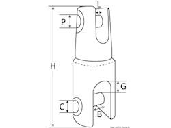Attacco girevole Mega per ancore, ricavato da barra macchinata con CNC
