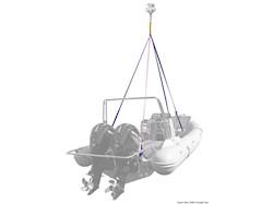 Sistema di sollevamento a 4 bracci per imbarcazioni o battelli pneumatici