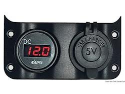 Voltometro 3/30 V + presa USB doppia