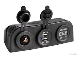 Voltmetro digitale con presa corrente e USB