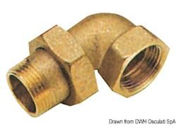 Raccordo 3 pezzi a 90°maschio/femmina con tenuta sfero-conica e o-ring