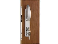 Serratura per porte scorrevoli, con maniglie esterne, chiave YALE esterna, blocco interno