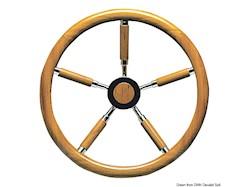 Timone con cerchio esterno in teak e razze rivestite in teak