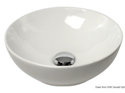 Lavello semisferico in ceramica bianca per montaggio su piano