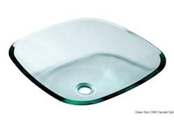 Lavello semi-quadrato in vetro trasparente